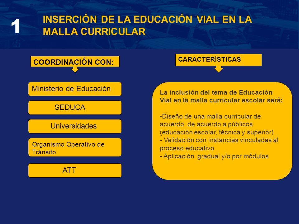 INSERCIÓN DE LA EDUCACIÓN VIAL EN LA MALLA CURRICULAR