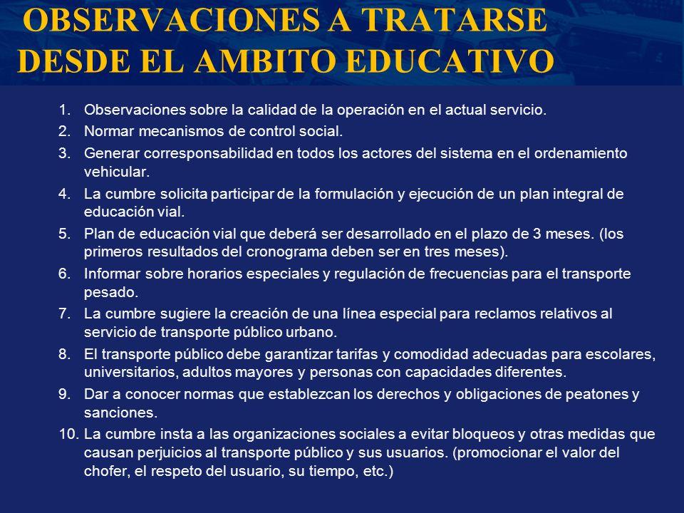 OBSERVACIONES A TRATARSE DESDE EL AMBITO EDUCATIVO