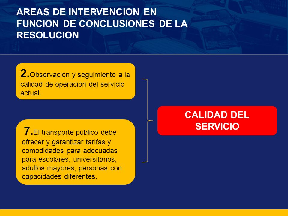 AREAS DE INTERVENCION EN FUNCION DE CONCLUSIONES DE LA RESOLUCION