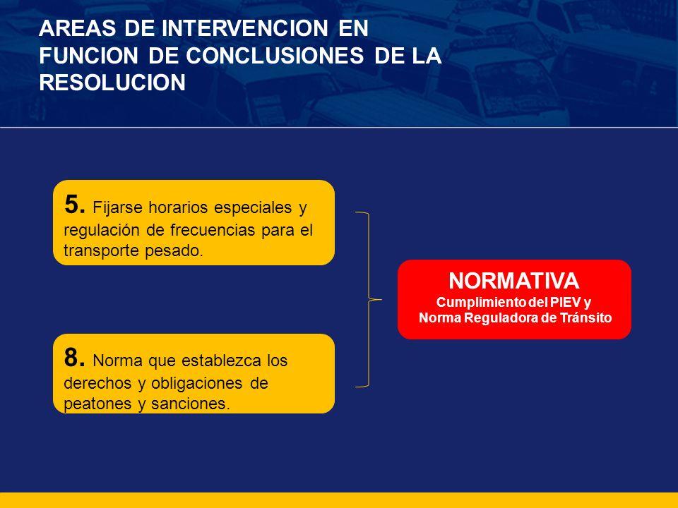 Cumplimiento del PIEV y Norma Reguladora de Tránsito