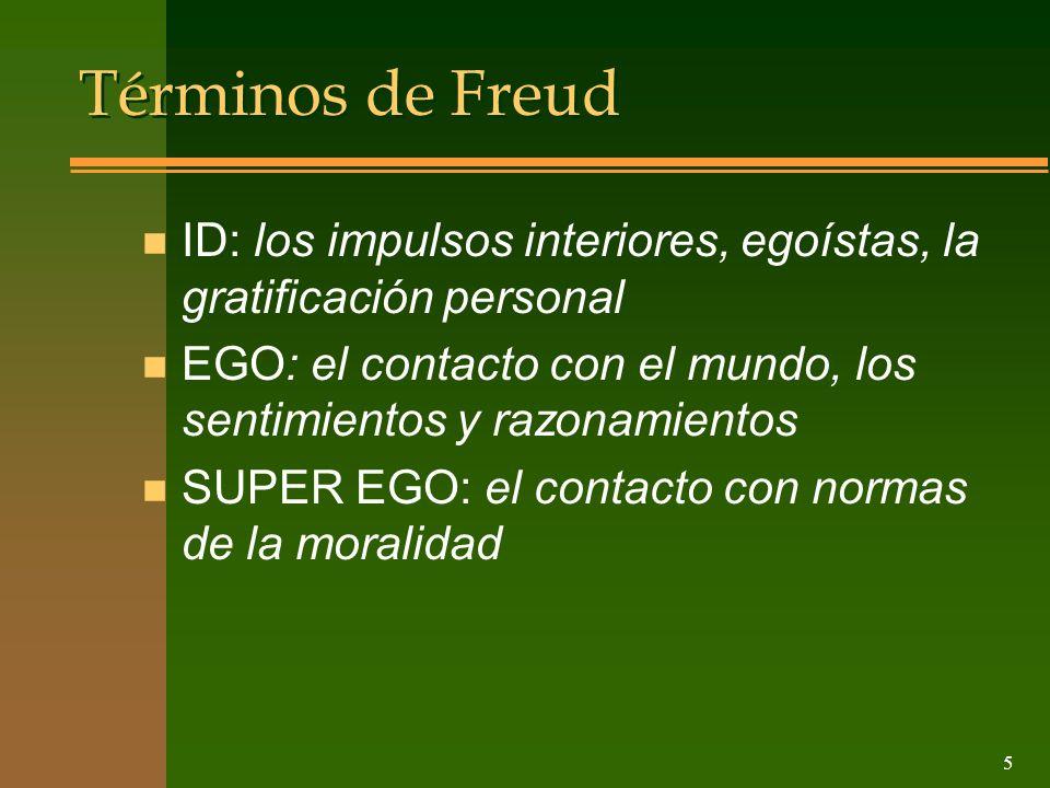 Términos de Freud ID: los impulsos interiores, egoístas, la gratificación personal. EGO: el contacto con el mundo, los sentimientos y razonamientos.