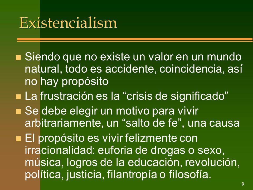 Existencialism Siendo que no existe un valor en un mundo natural, todo es accidente, coincidencia, así no hay propósito.