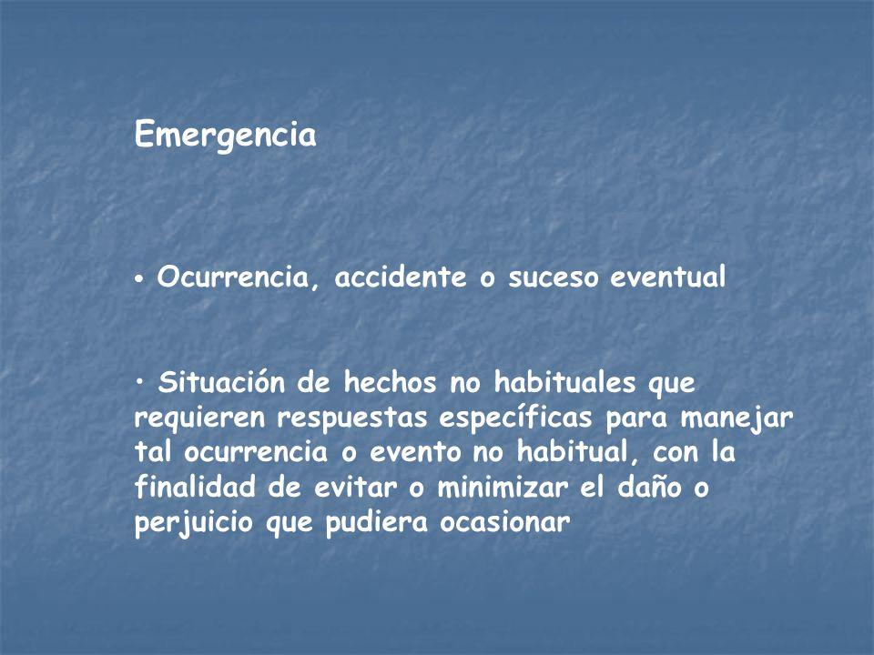 EmergenciaOcurrencia, accidente o suceso eventual.