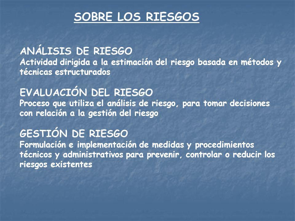 SOBRE LOS RIESGOS ANÁLISIS DE RIESGO EVALUACIÓN DEL RIESGO