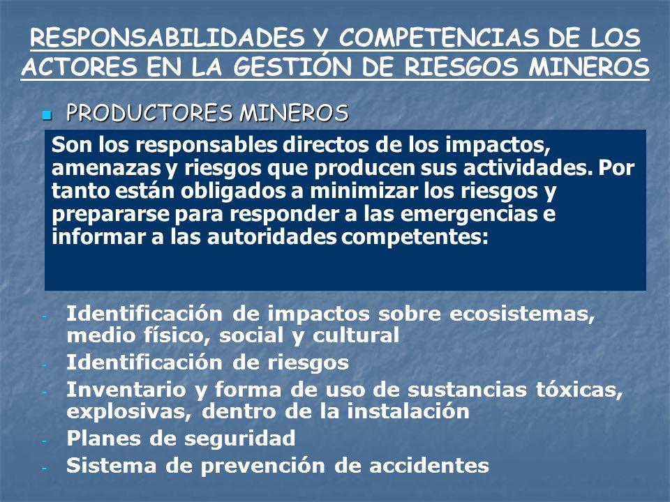 RESPONSABILIDADES Y COMPETENCIAS DE LOS ACTORES EN LA GESTIÓN DE RIESGOS MINEROS