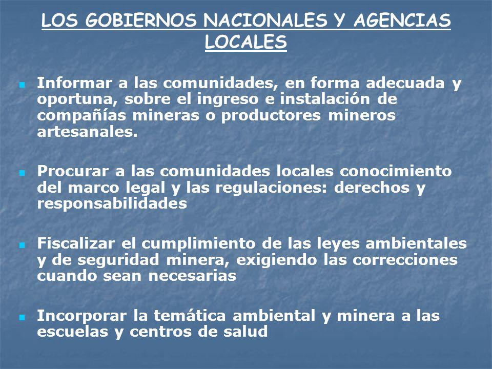 LOS GOBIERNOS NACIONALES Y AGENCIAS LOCALES