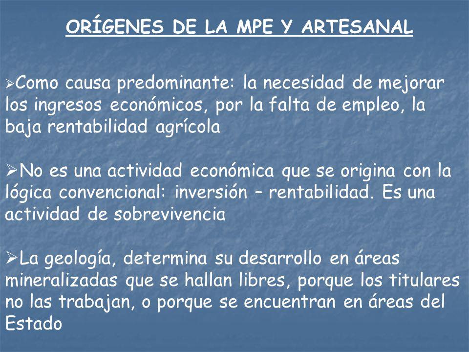ORÍGENES DE LA MPE Y ARTESANAL