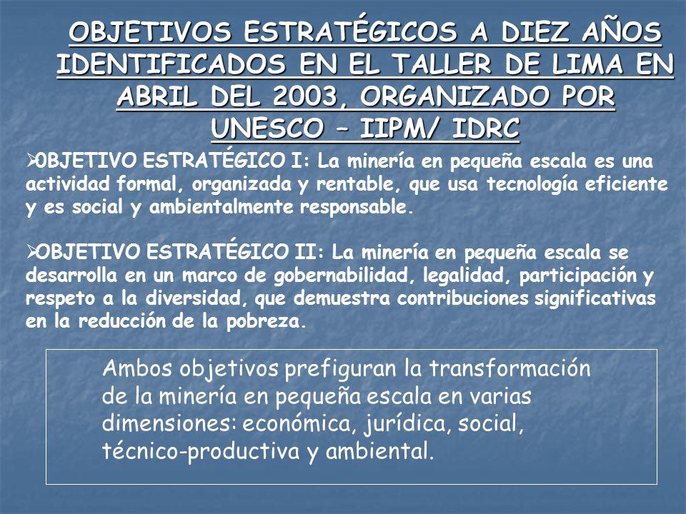 OBJETIVOS ESTRATÉGICOS A DIEZ AÑOS IDENTIFICADOS EN EL TALLER DE LIMA EN ABRIL DEL 2003, ORGANIZADO POR