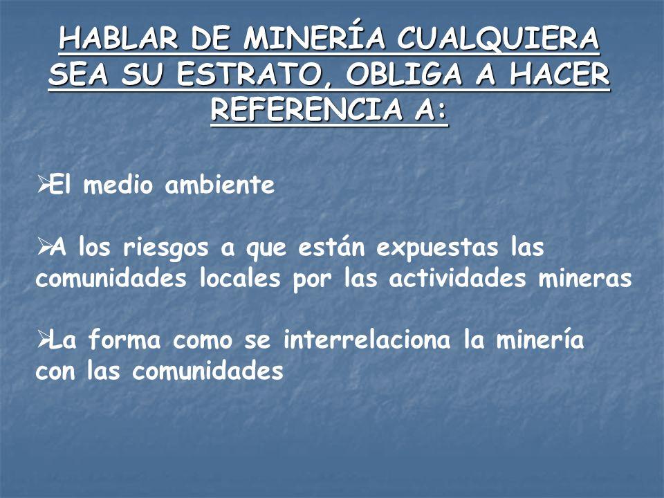 HABLAR DE MINERÍA CUALQUIERA SEA SU ESTRATO, OBLIGA A HACER REFERENCIA A: