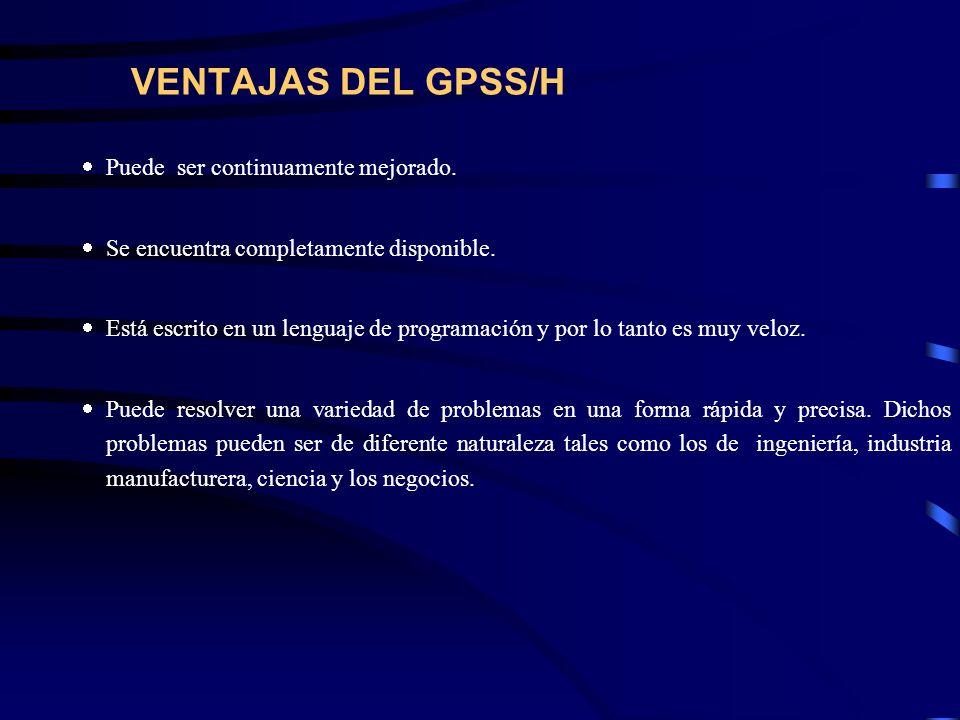 VENTAJAS DEL GPSS/H Puede ser continuamente mejorado.