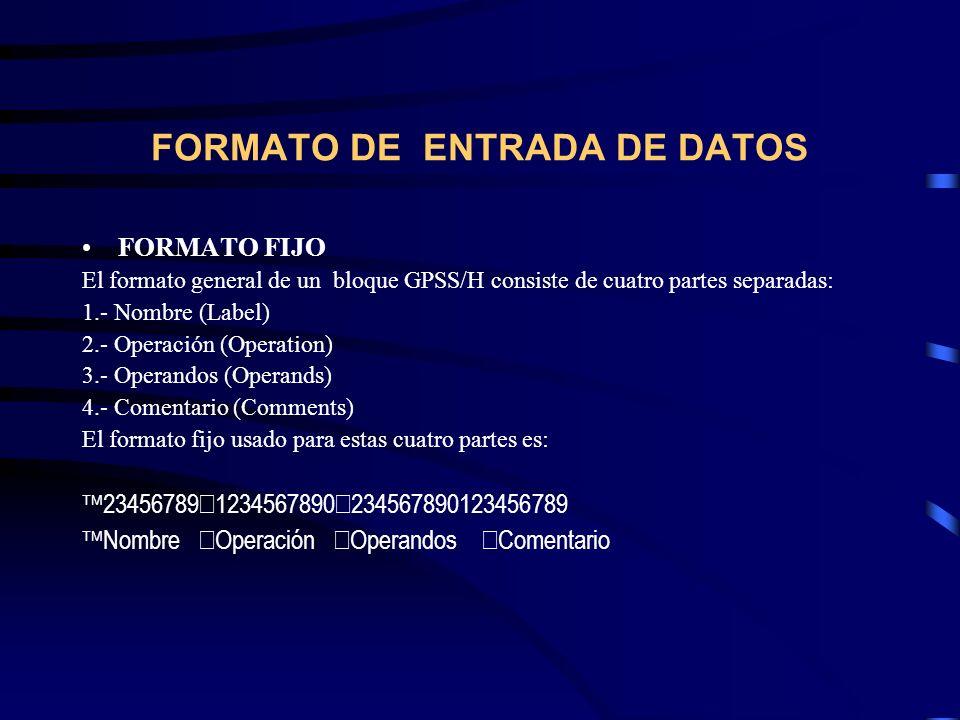 FORMATO DE ENTRADA DE DATOS