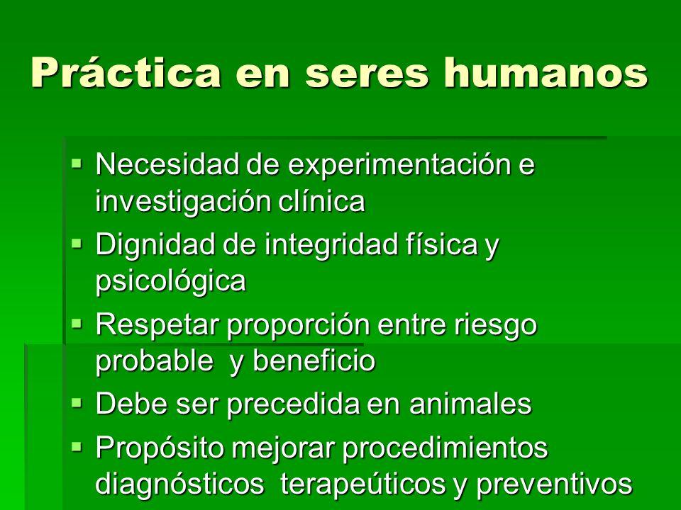 Práctica en seres humanos