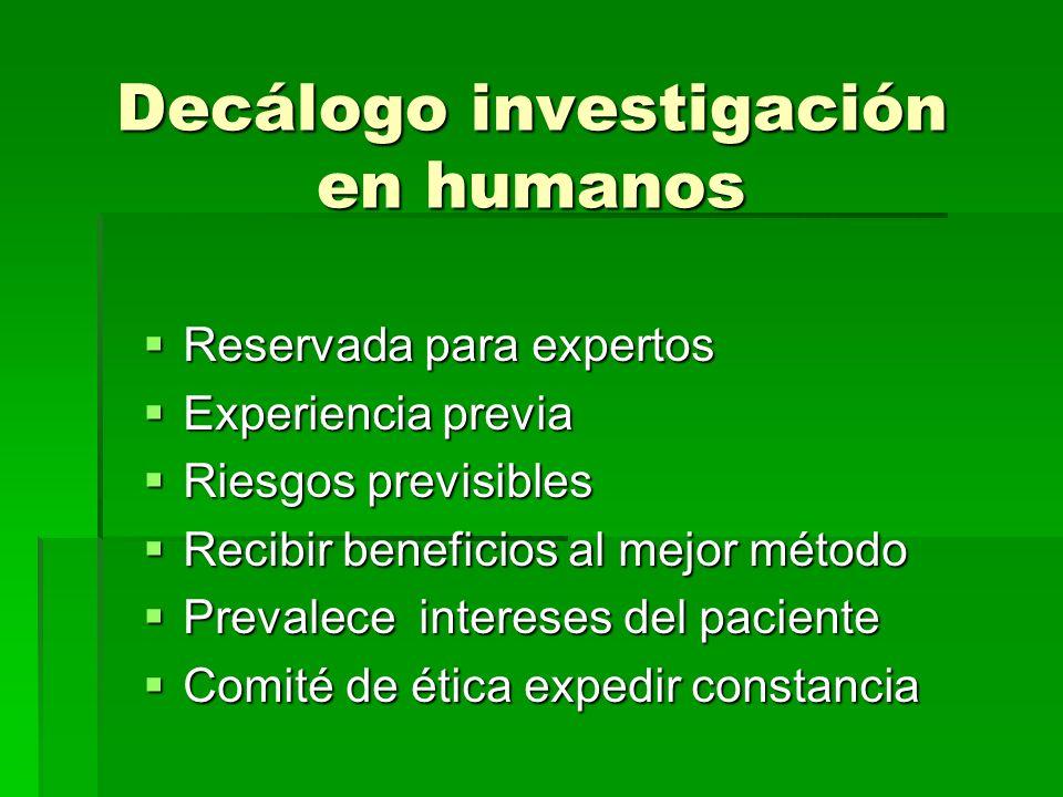 Decálogo investigación en humanos