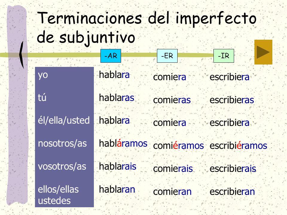 Terminaciones del imperfecto de subjuntivo