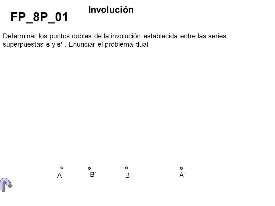 InvoluciónFP_8P_01. Determinar los puntos dobles de la involución establecida entre las series superpuestas s y s' . Enunciar el problema dual.