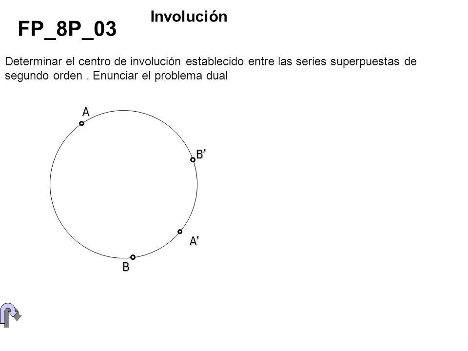 Involución FP_8P_03. Determinar el centro de involución establecido entre las series superpuestas de segundo orden . Enunciar el problema dual.