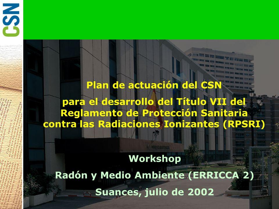 Plan de actuación del CSN Radón y Medio Ambiente (ERRICCA 2)