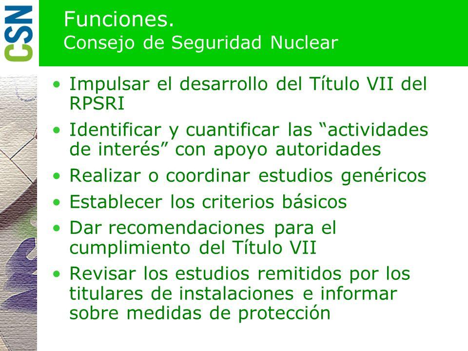 Funciones. Consejo de Seguridad Nuclear