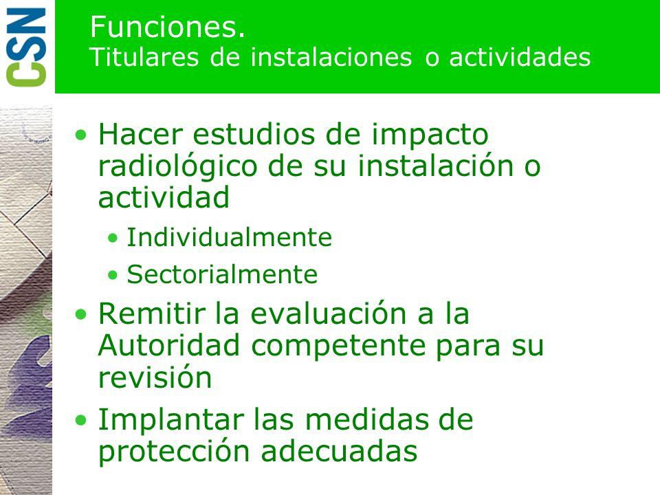 Funciones. Titulares de instalaciones o actividades