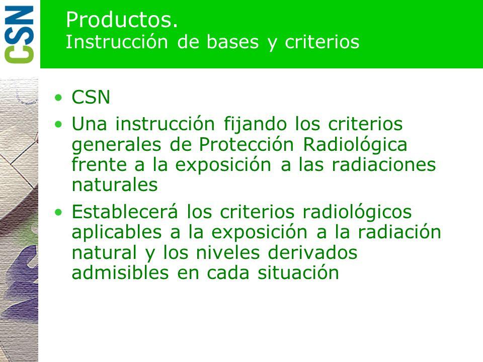 Productos. Instrucción de bases y criterios