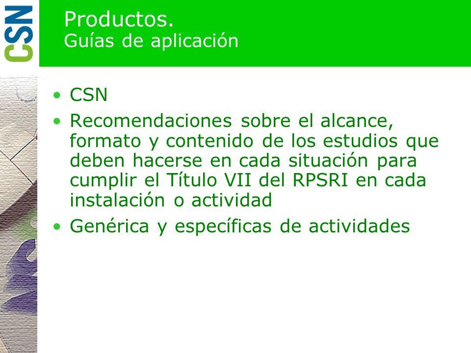 Productos. Guías de aplicación