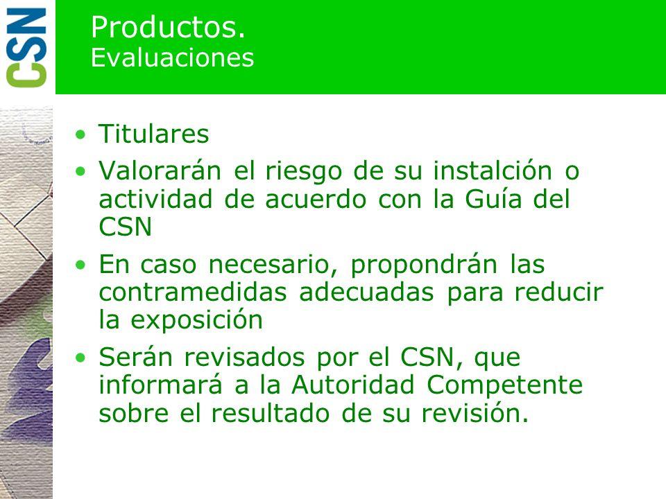 Productos. Evaluaciones
