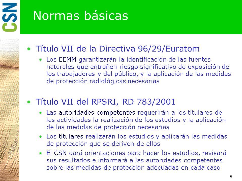 Normas básicas Título VII de la Directiva 96/29/Euratom
