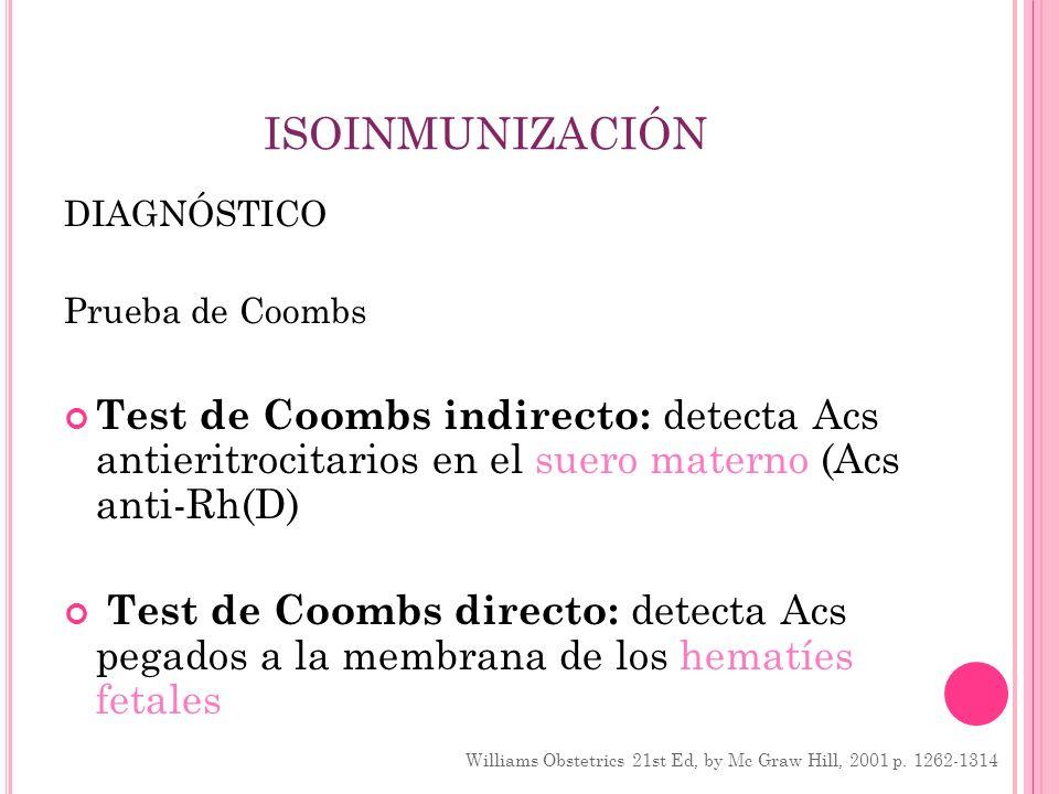 ISOINMUNIZACIÓN DIAGNÓSTICO. Prueba de Coombs. Test de Coombs indirecto: detecta Acs antieritrocitarios en el suero materno (Acs anti-Rh(D)