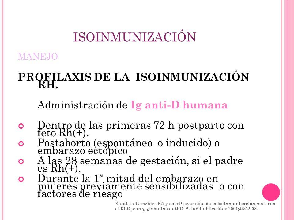 ISOINMUNIZACIÓN PROFILAXIS DE LA ISOINMUNIZACIÓN RH.
