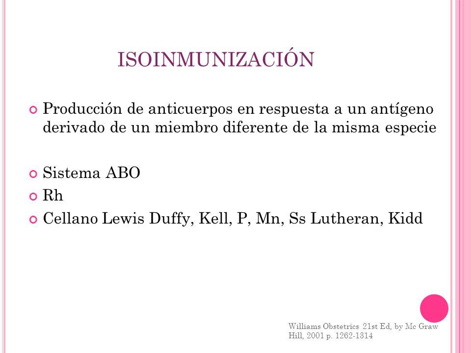 ISOINMUNIZACIÓN Producción de anticuerpos en respuesta a un antígeno derivado de un miembro diferente de la misma especie.