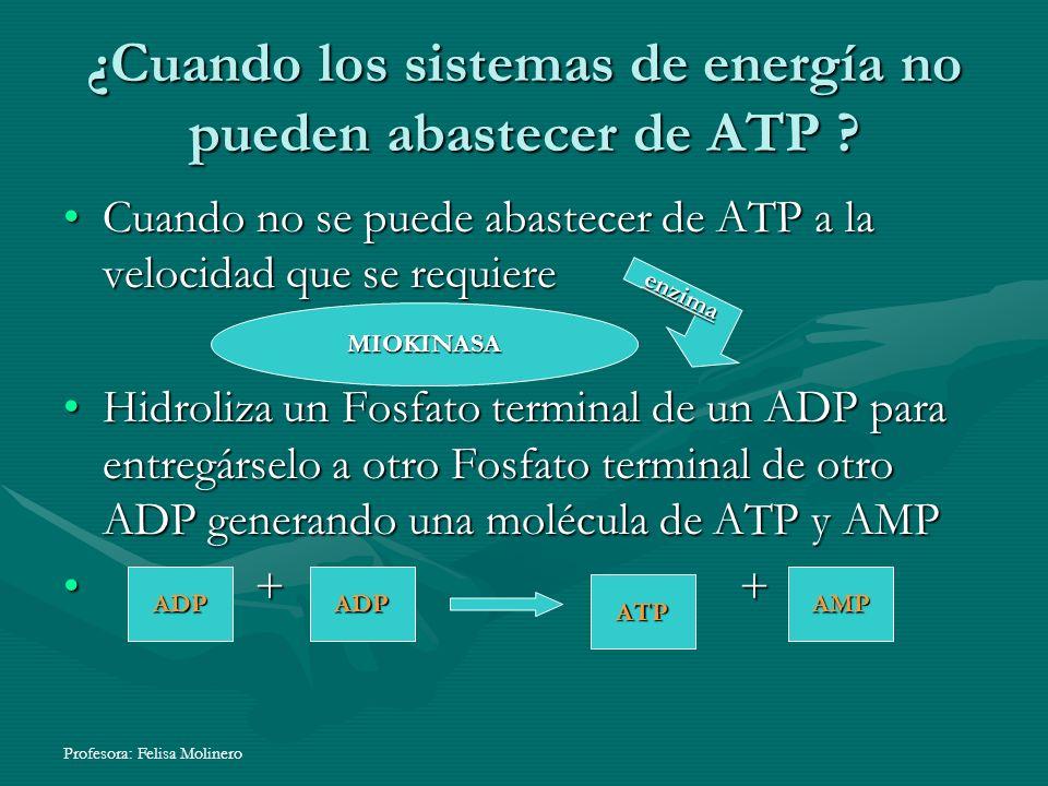 ¿Cuando los sistemas de energía no pueden abastecer de ATP