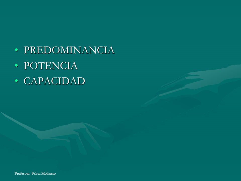 PREDOMINANCIA POTENCIA CAPACIDAD Profesora: Felisa Molinero