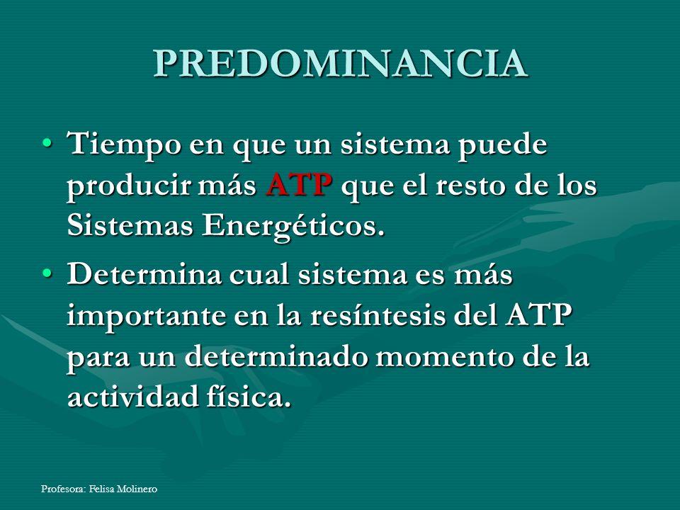 PREDOMINANCIA Tiempo en que un sistema puede producir más ATP que el resto de los Sistemas Energéticos.