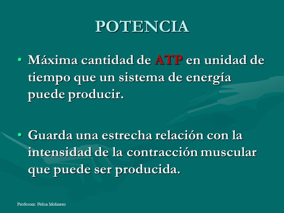 POTENCIA Máxima cantidad de ATP en unidad de tiempo que un sistema de energía puede producir.