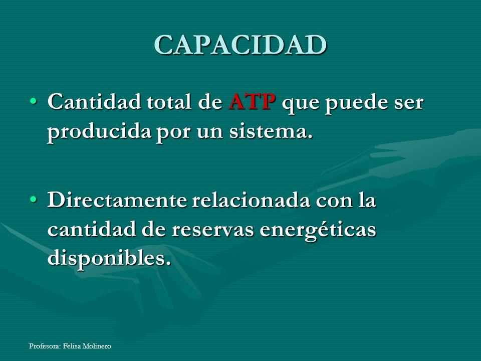 CAPACIDADCantidad total de ATP que puede ser producida por un sistema. Directamente relacionada con la cantidad de reservas energéticas disponibles.