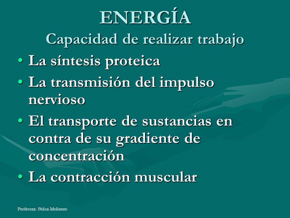 ENERGÍA Capacidad de realizar trabajo