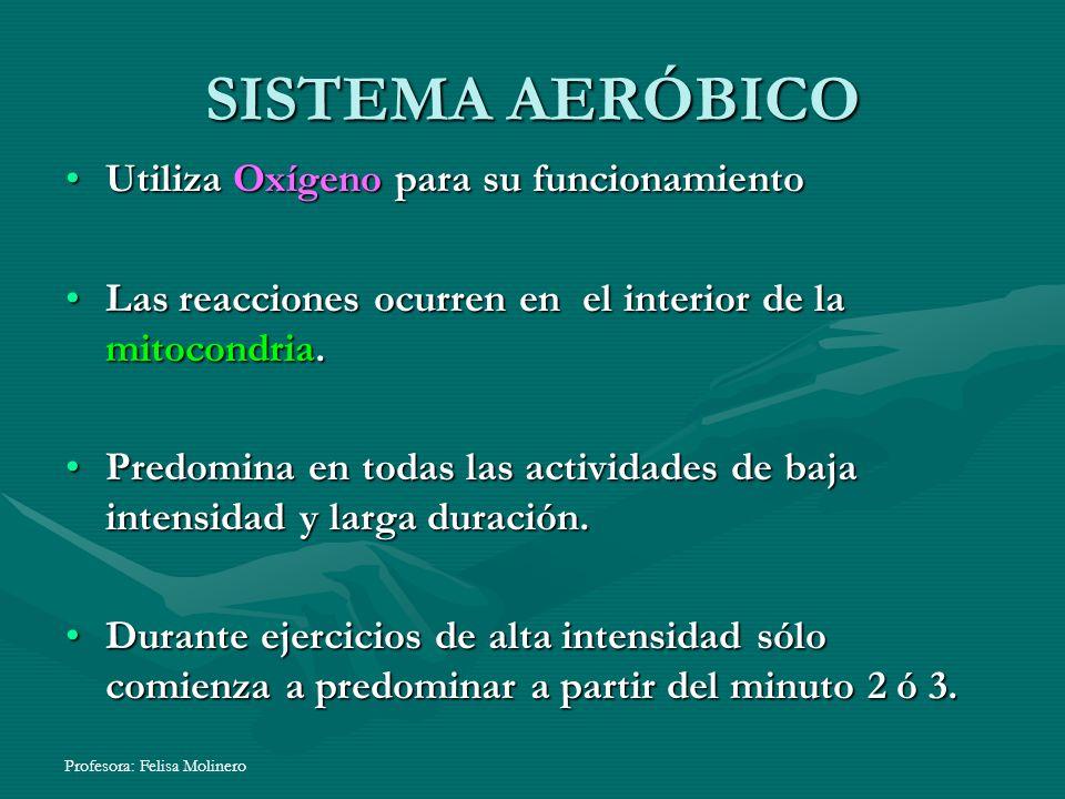 SISTEMA AERÓBICO Utiliza Oxígeno para su funcionamiento