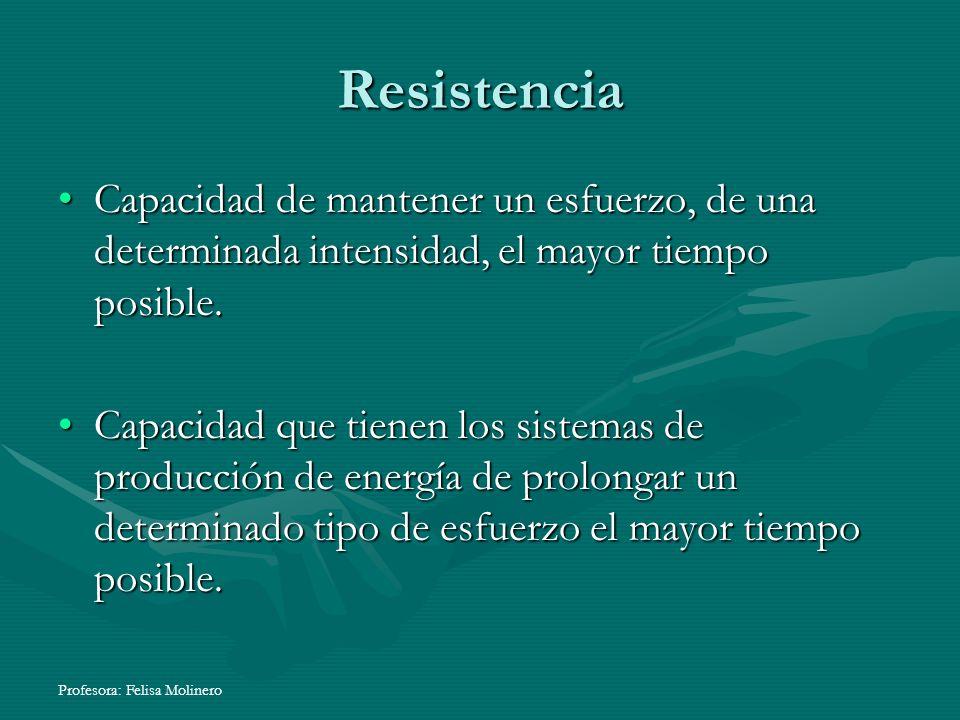 Resistencia Capacidad de mantener un esfuerzo, de una determinada intensidad, el mayor tiempo posible.