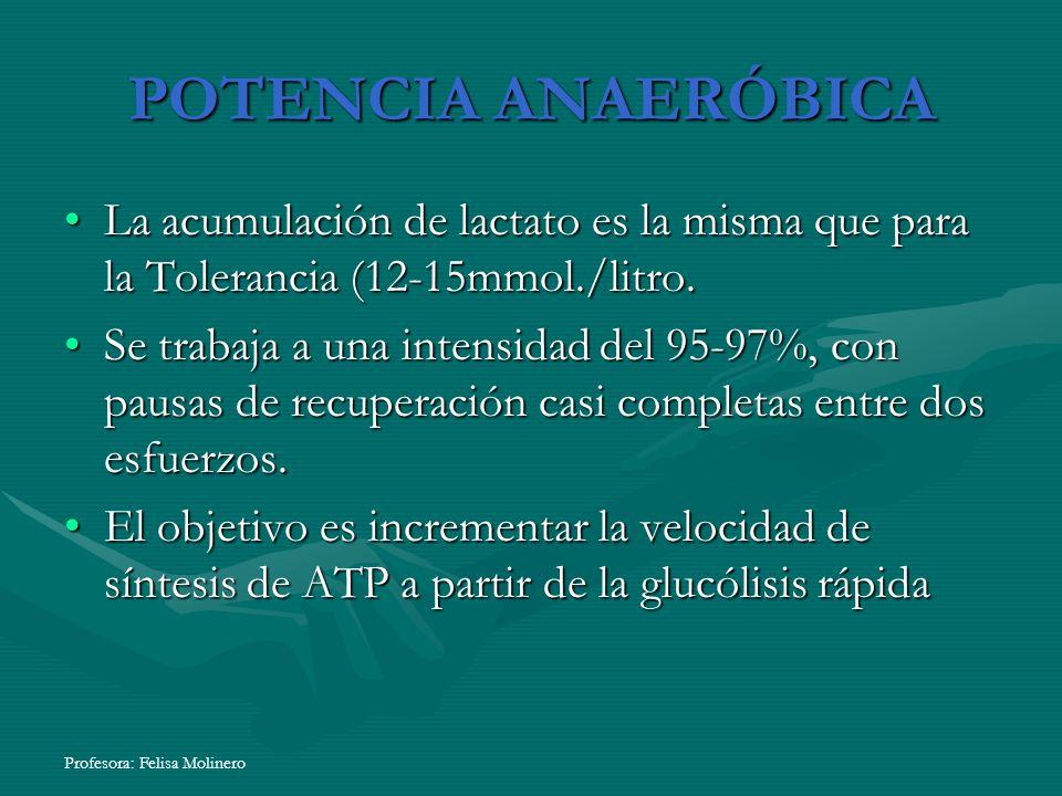 POTENCIA ANAERÓBICA La acumulación de lactato es la misma que para la Tolerancia (12-15mmol./litro.