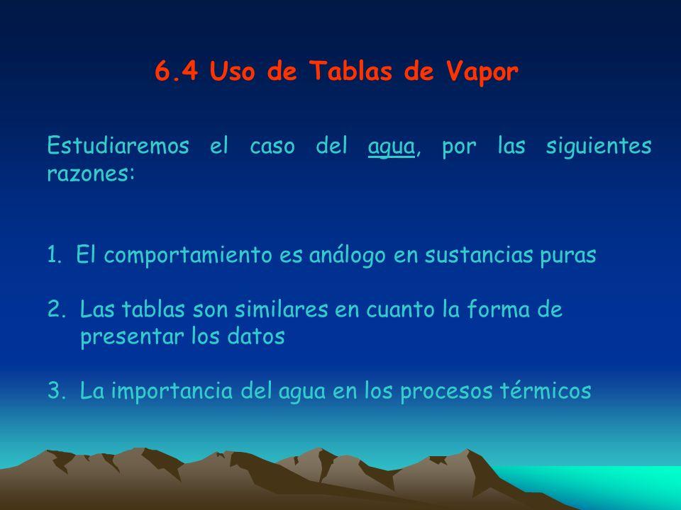 6.4 Uso de Tablas de Vapor Estudiaremos el caso del agua, por las siguientes razones: 1. El comportamiento es análogo en sustancias puras.