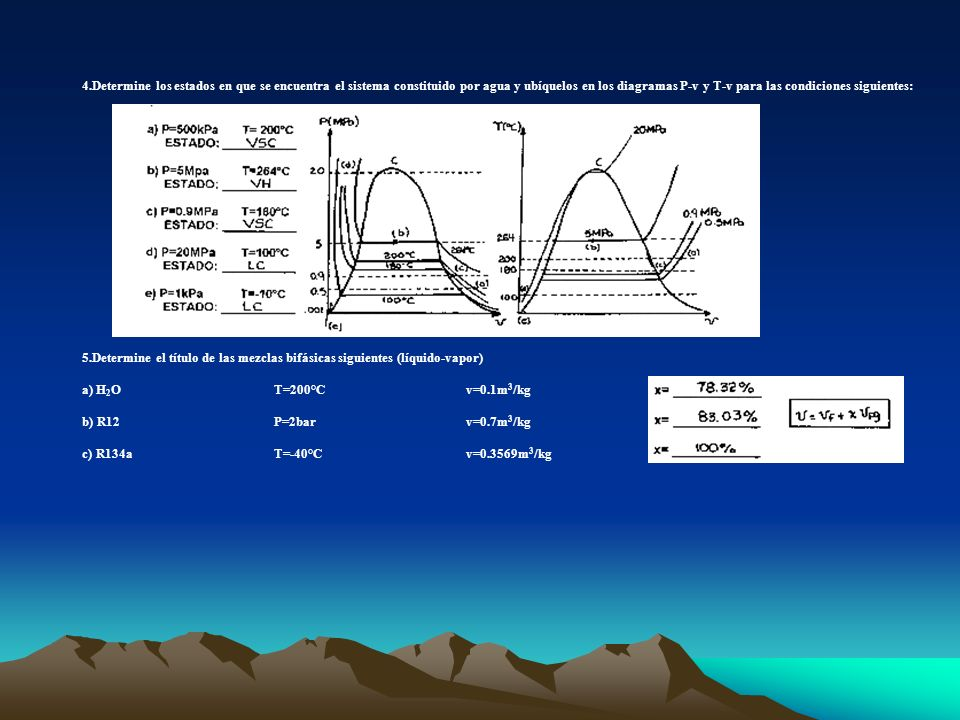 4.Determine los estados en que se encuentra el sistema constituido por agua y ubíquelos en los diagramas P-v y T-v para las condiciones siguientes: