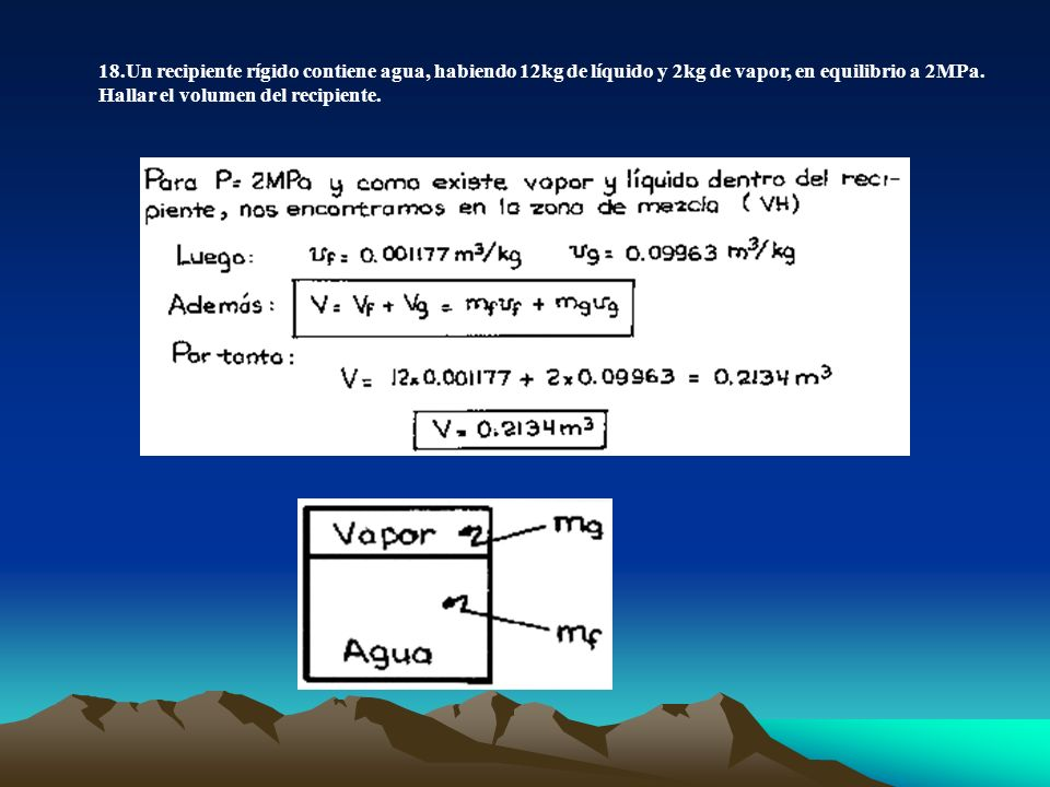 18.Un recipiente rígido contiene agua, habiendo 12kg de líquido y 2kg de vapor, en equilibrio a 2MPa.