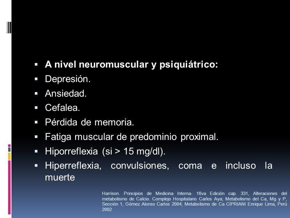A nivel neuromuscular y psiquiátrico: Depresión. Ansiedad. Cefalea.