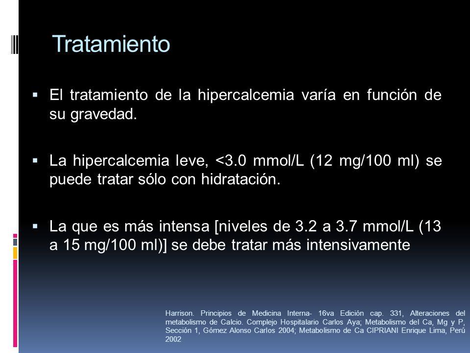 Tratamiento El tratamiento de la hipercalcemia varía en función de su gravedad.