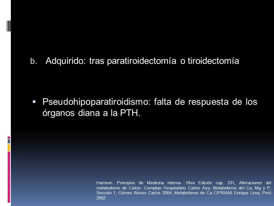 Adquirido: tras paratiroidectomía o tiroidectomía