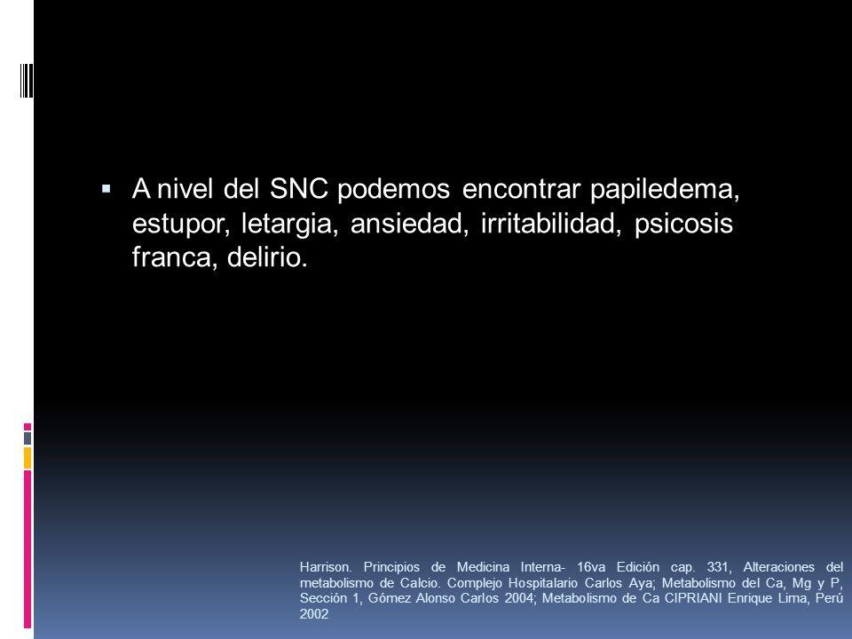 A nivel del SNC podemos encontrar papiledema, estupor, letargia, ansiedad, irritabilidad, psicosis franca, delirio.