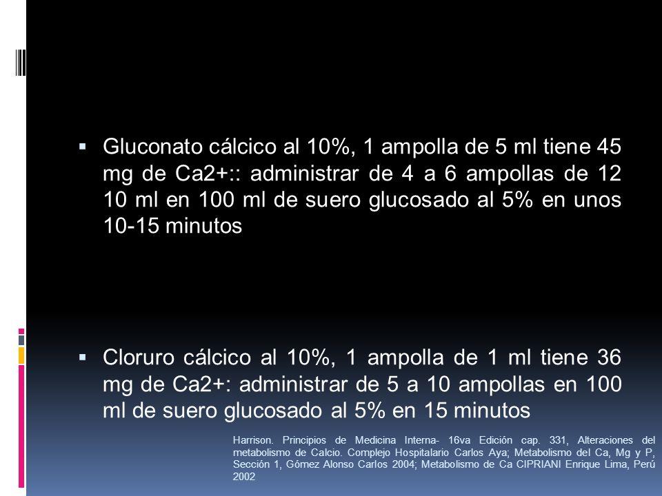 Gluconato cálcico al 10%, 1 ampolla de 5 ml tiene 45 mg de Ca2+:: administrar de 4 a 6 ampollas de 12 10 ml en 100 ml de suero glucosado al 5% en unos 10-15 minutos