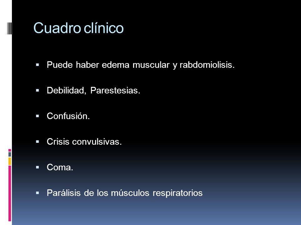 Cuadro clínico Puede haber edema muscular y rabdomiolisis.