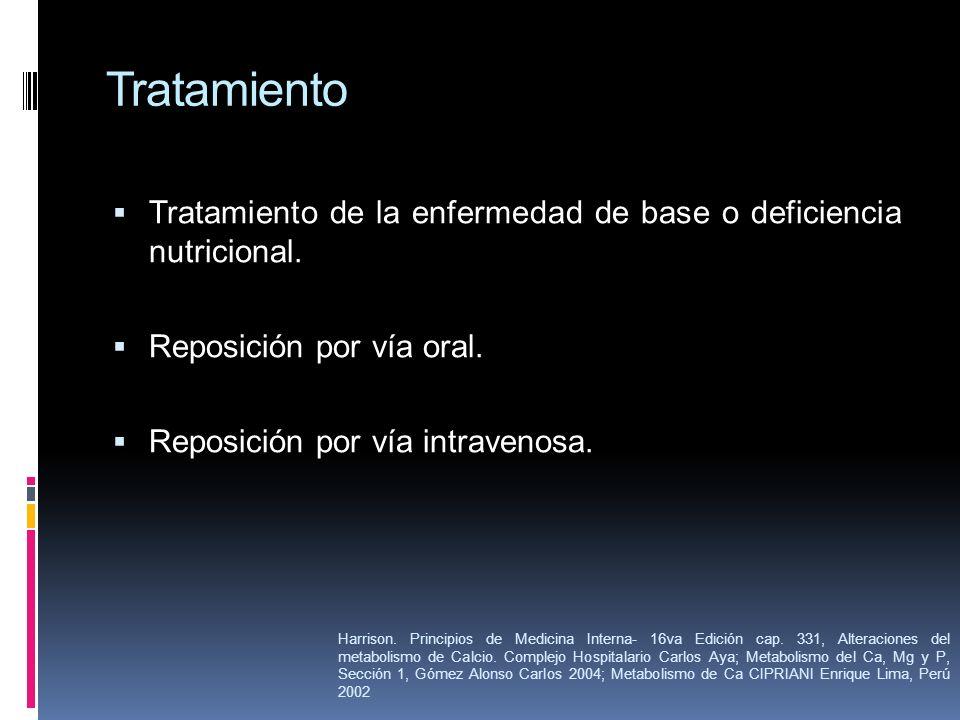 TratamientoTratamiento de la enfermedad de base o deficiencia nutricional. Reposición por vía oral.
