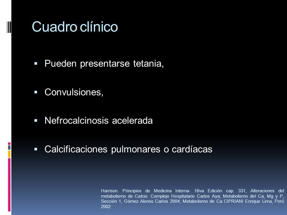 Cuadro clínico Pueden presentarse tetania, Convulsiones,